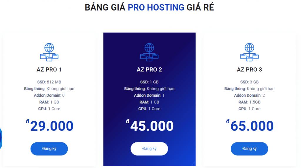 Đánh giá và lựa chọn các gói hosting AZDIGI chi tiết 2020